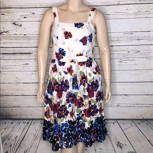 Lane Bryant 18 Floral Linen Blend Dress w/ Belt